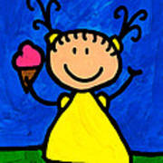 Happi Arte 3 - Little Girl Ice Cream Cone Art Art Print