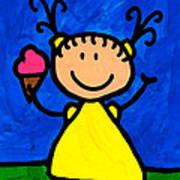Happi Arte 3 - Little Girl Ice Cream Cone Art Art Print by Sharon Cummings