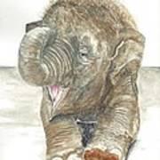 Happy Baby Elephant Art Print
