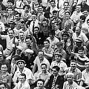 Happy Baseball Fans In The Bleachers At Yankee Stadium. Art Print by Underwood Archives