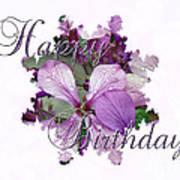 Happy Birthday Greeting Card - Purple Luneria Art Print