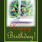 Happy Birthday Tulip Bunch Art Print