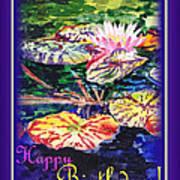 Happy Birthday Water Lilies  Art Print