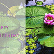 Happy Birthday Water Lily Art Print