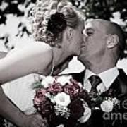 Happy Bride And Groom Kissing Art Print