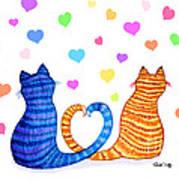 Happy Cats And Hearts Art Print