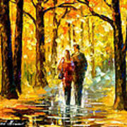 Happy Couple - Palette Knife Oil Painting On Canvas By Leonid Afremov Art Print