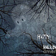 Happy Halloween - Ghost In Trees Art Print