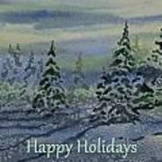 Happy Holidays - Snowy Winter Evening Art Print