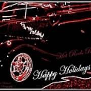 Happy Holidays Hot Rods Rule Art Print