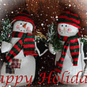 Happy Holidays - Christmas - Snowman Collection - Greeting Cards Art Print