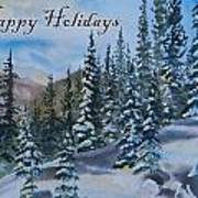 Happy Holidays Forest And Mountains Art Print