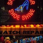 Happy Holidays - Neon Of New York - Shoe Repair - Holiday And Christmas Card Art Print