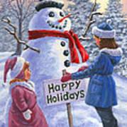 Happy Holidays Art Print by Richard De Wolfe