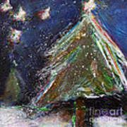 Happy Holidays Silver And Red Wishing Stars Art Print by Johane Amirault