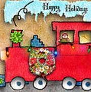 Happy Holidays Train Art Print