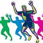 Happy Marathon Runner Running Retro Art Print by Aloysius Patrimonio