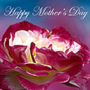 Happy Mother's Day Red Pink White Rose Art Print