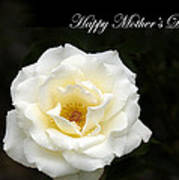 happy Mother's Day White Rose Art Print