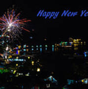 Happy New Year Greeting Card - Fireworks Display Art Print