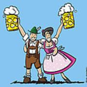 Happy Oktoberfest Couple Beer Art Print