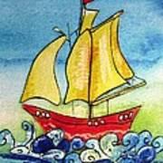 Happy Sailing Ship  Art Print