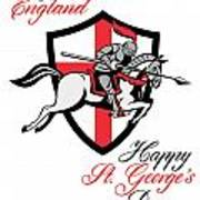 Happy St George Day A Day For England Retro Poster Art Print