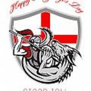 Happy St George Stand Tall Proud To Be English Retro Poster Art Print