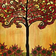 Happy Tree In Red Art Print
