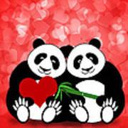 Happy Valentines Day Panda Couple Hearts Bokeh Art Print