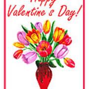 Happy Valentines Tulip Bouquet Art Print