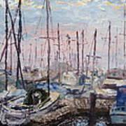 Harbor In Early Morning Art Print