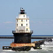 Harbor Of Refuge Light  And Breakwater Art Print