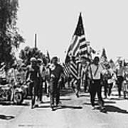 Hard Hat Pro-viet Nam War March Saluting Cops Tucson Arizona 1970 Black And White Art Print