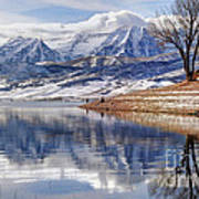 Hardy Fishermen Deer Creek Reservoir And Timpanogos In Winter Art Print