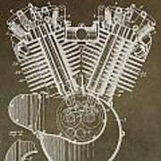 Harley Davidson Engine Art Print by Dan Sproul