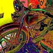 Harley Davidson In Neon  Art Print