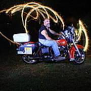 Harley Davidson Light Painting Art Print