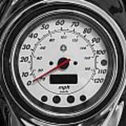 Harley Davidson Motorcycle Speedometer Harley Bike Bw  Art Print