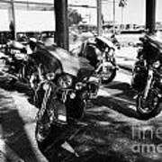 Harley Davidson Touring Motorbikes Including Electra Glide Outside Dealership In Orlando Florida Usa Art Print