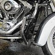 Harley Engine Close-up Rain 1 Art Print