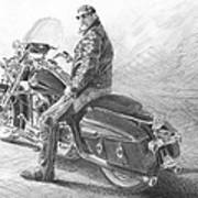 Harley Rider Pencil Portrait Art Print