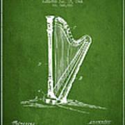 Harp Music Instrument Patent From 1901 - Green Art Print