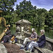 Harpist - Central Park Art Print