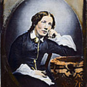 Harriet Beecher Stowe (1811-1896). American Abolitionist And Writer. Oil Over A Daguerrotype, C1852 Art Print