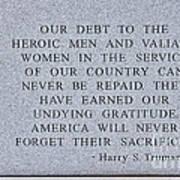 Harry S Truman Quote Memorial Art Print