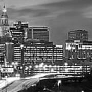 Hartford Skyline At Night Bw Black And White Panoramic  Art Print