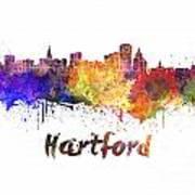 Hartford Skyline In Watercolor Art Print
