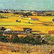 Harvest At La Crau With Montmajour In The Background Art Print by Vincent Van Gogh