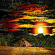 Harvest Moon And Late Barn Art Print